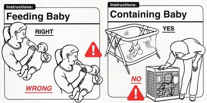 Cartoon - Instructions: Instructions: Feeding Baby Containing Baby YES RIGHT NO WRONG