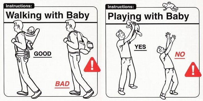 Cartoon - Instructions: Instructions: Walking with Baby Playing with Baby YES AGOOD NO BAD