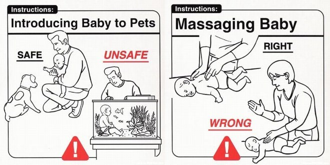 Cartoon - Instructions: Instructions: Introducing Baby to Pets Massaging Baby RIGHT SAFE UNSAFE WRONG
