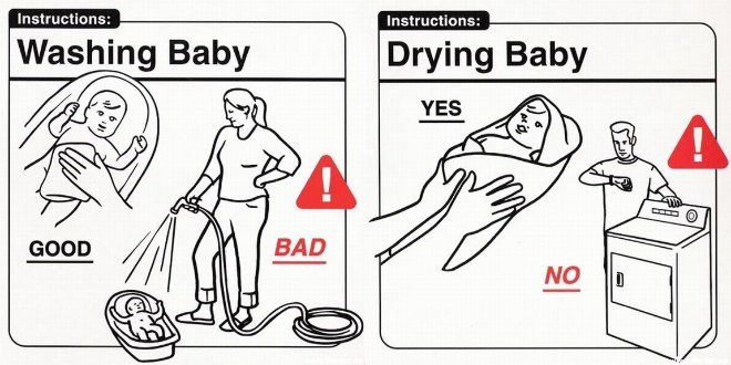 Line art - Instructions: Instructions: Washing Baby Drying Baby YES GOOD BAD NO