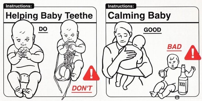 White - Instructions: Instructions: Helping Baby Teethe Calming Baby DO GOOD BAD XXX DON'T