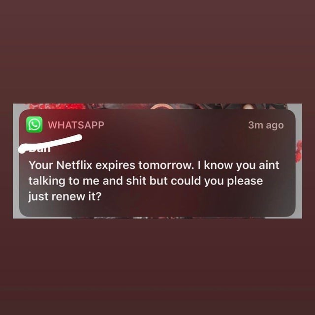 Text - WHATSAPP 3m ago Your Netflix expires tomorrow. I know you aint talking to me and shit but could you please just renew it?