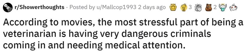 Text - r/Showerthoughts · Posted by u/Mallcop1993 2 days ago 3. According to movies, the most stressful part of being a veterinarian is having very dangerous criminals coming in and needing medical attention.