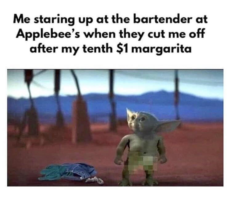 "Funny meme that reads, ""Me staring up at the bartender at Applebee's when they cut me off after my tenth $1 margarita"" above an image of a naked Baby Yoda"
