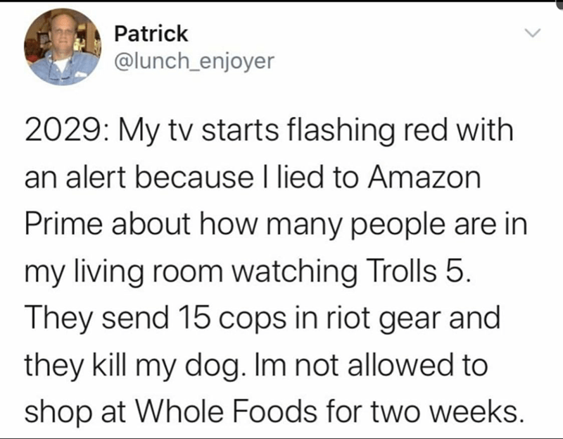 Funny tweet about life in the future when Amazon has taken over | Save Patrick @lunch_enjoyer 2029: My tv starts flashing red with an alert because I lied to Amazon Prime about how many people are in my living room watching Trolls 5. They send 15 cops in riot gear and they kill my dog. Im not allowed to shop at Whole Foods for two weeks.