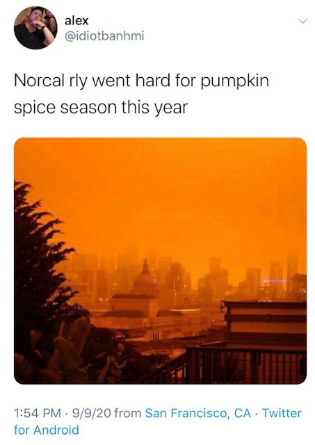 Text - alex @idiotbanhmi Norcal rly went hard for pumpkin spice season this year 1:54 PM · 9/9/20 from San Francisco, CA Twitter for Android
