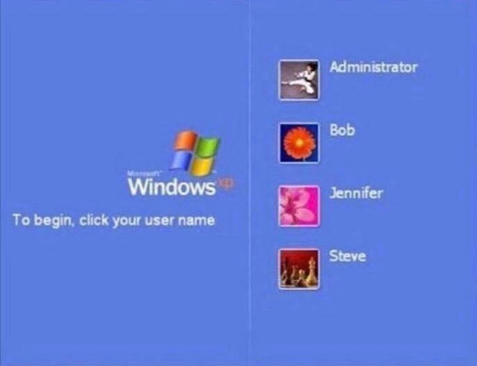 Blue - Administrator Bob Windows Jennifer To begin, click your user name Steve