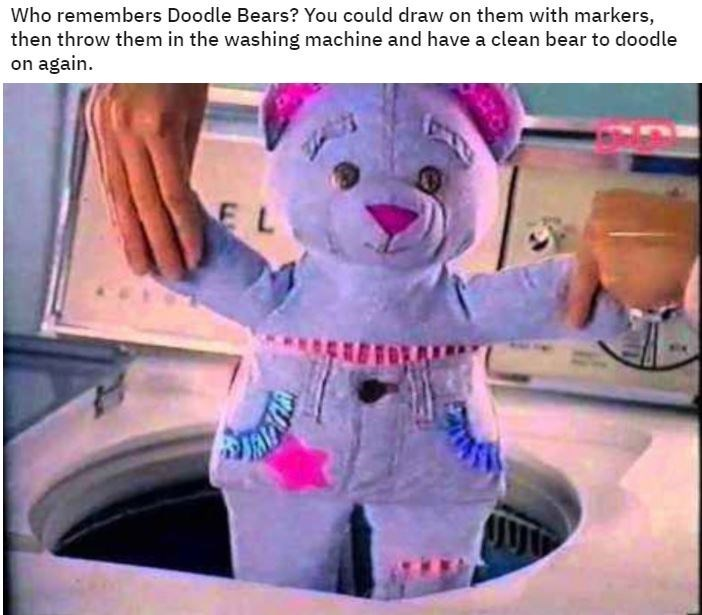 Cartoon - Who remembers Doodle Bears? You could draw on them with markers, then throw them in the washing machine and have a clean bear to doodle on again. EL