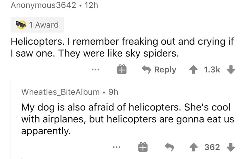 Text - Anonymous3642 • 12h 1 Award Helicopters. I remember freaking out and crying if I saw one. They were like sky spiders. Reply 1.3k Wheatles_BiteAlbum • 9h My dog is also afraid of helicopters. She's cool with airplanes, but helicopters are gonna eat us apparently. 362 ...