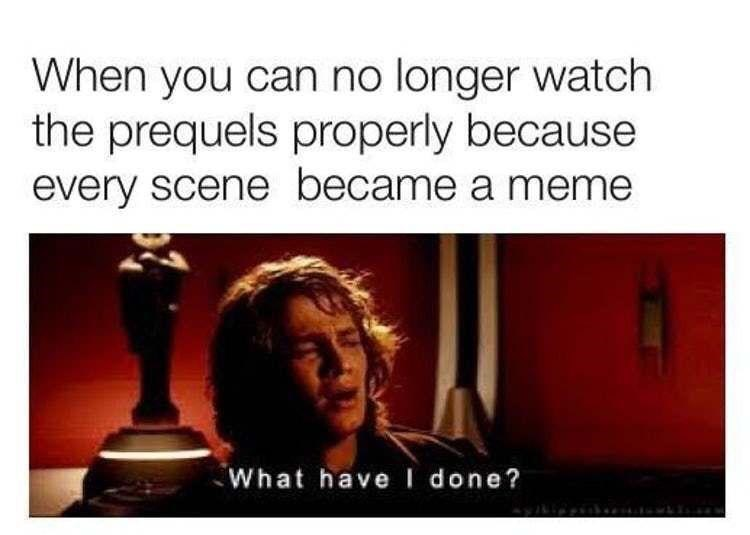 Text - When you can no longer watch the prequels properly because every scene became a meme What havel done?