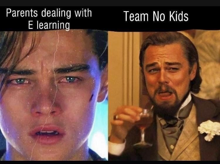 Funny meme featuring Leonardo DiCaprio about stressed out parents trying to use E-learning vs. people without kids
