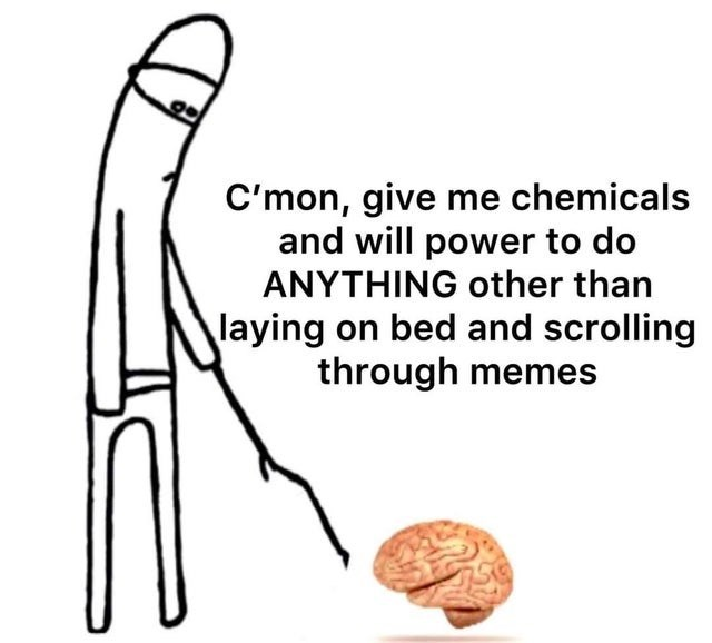 funny meme about asking your brain to give good chemicals so you have enough energy to do something other than look at memes and scroll your phone | C'mon, give me chemicals and will power to do ANYTHING other than laying on bed and scrolling through memes