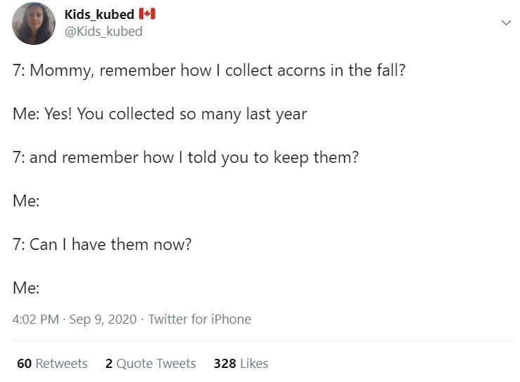 Text - Kids_kubed +1 @Kids_kubed 7: Mommy, remember how I collect acorns in the fall? Me: Yes! You collected so many last year 7: and remember how I told you to keep them? Me: 7: Can I have them now? Me: 4:02 PM Sep 9, 2020 Twitter for iPhone 60 Retweets 2 Quote Tweets 328 Likes >