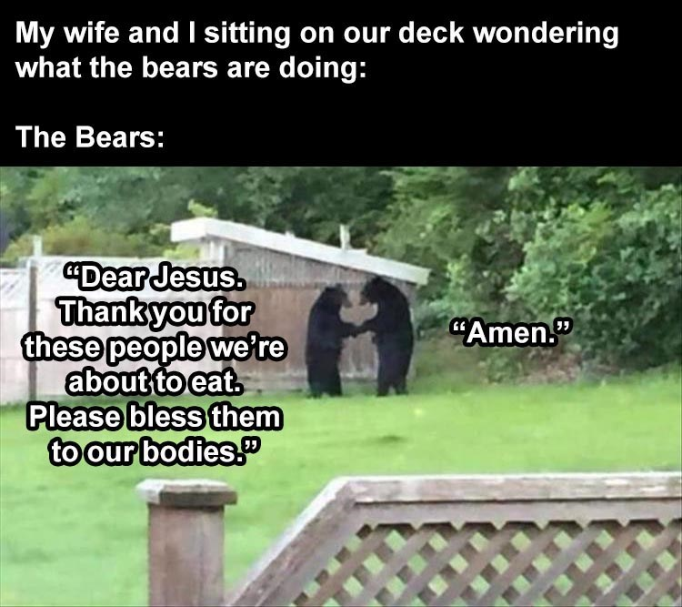 """Text - My wife and I sitting on our deck wondering what the bears are doing: The Bears: """"Dear Jesus. Thankyou for these people we're about to eat. Please bless them to our bodies."""" """"Amen."""""""