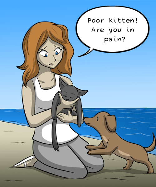Cartoon - Poor kitten! Are you in pa in?