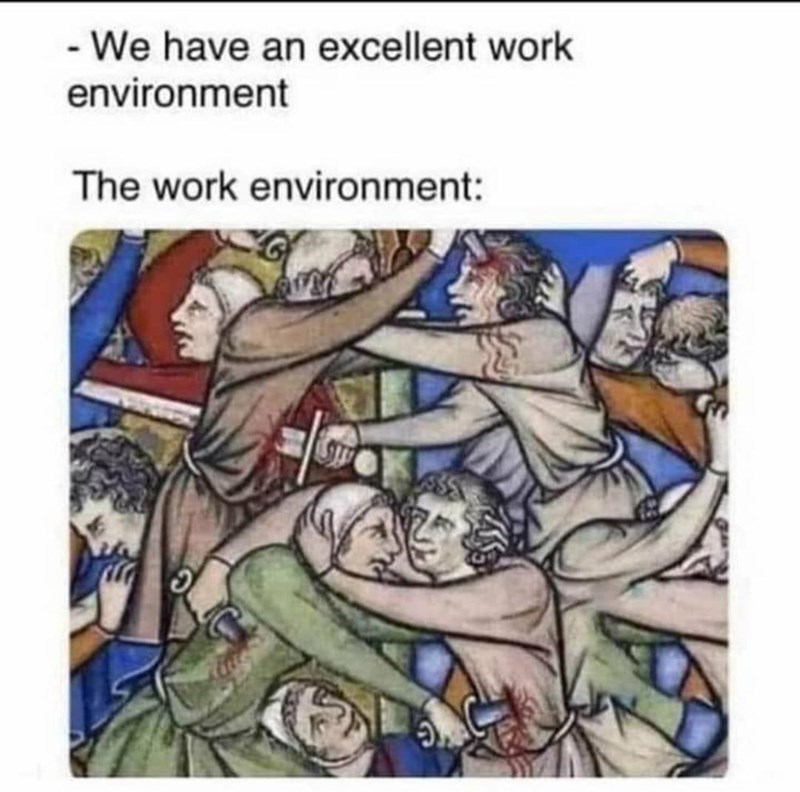 best funny memes - Cartoon - - We have an excellent work environment The work environment:
