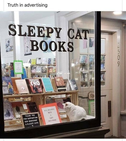 Bookselling - Truth in advertising SLEEPY CAT BOOKS HARGARET CHO OPEN MIC Op ALL BOOKS! BUY THANK YOU FOR SUPPORTING GET OUR BOOKSHOP 3RD FREE SLEEPY CATS