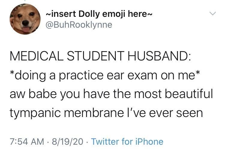 Text - winsert Dolly emoji here- @BuhRooklynne MEDICAL STUDENT HUSBAND: *doing a practice ear exam on me* aw babe you have the most beautiful tympanic membrane l've ever seen 7:54 AM 8/19/20 · Twitter for iPhone