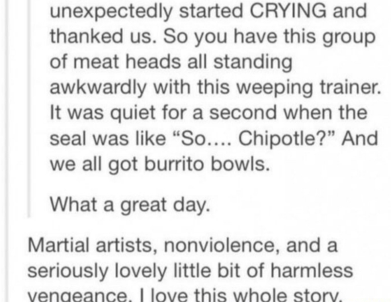 """Text - unexpectedly started CRYING and thanked us. So you have this group of meat heads all standing awkwardly with this weeping trainer. It was quiet for a second when the seal was like """"So.... Chipotle?"""" And we all got burrito bowls. What a great day. Martial artists, nonviolence, and a seriously lovely little bit of harmless vendeance. I love this whole storv."""