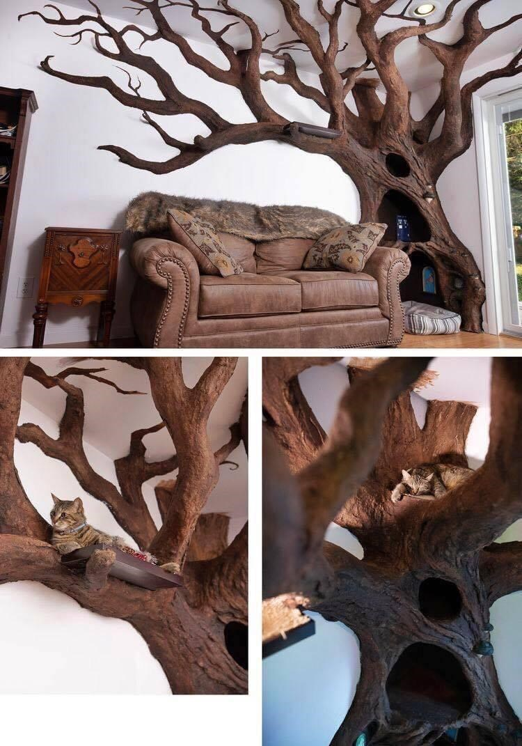 elaborate realistic cat tree literally a tree indoors for cats to climb and play on