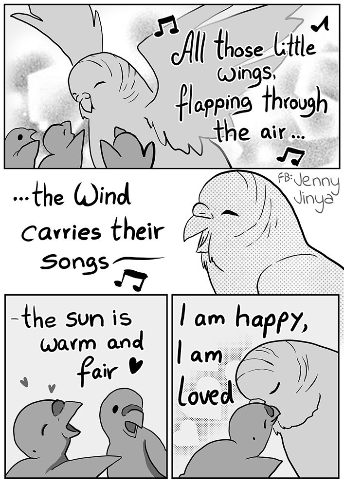 Text - All those little Wings flapping through the air... .the Wind FB Jenny vinya •.. Carries their Songs -the sun is am happy, Warm and am fair loved