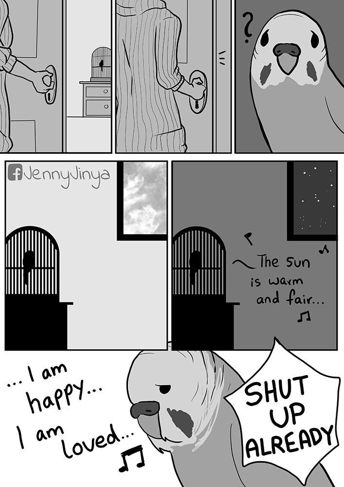 Cartoon - AJennyJinya The Sun s warm and fair... I am ... happy.. SHUT UP ALREADY | am loved..