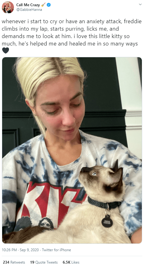 Canidae - Call Me Crazy @GabbieHanna whenever i start to cry or have an anxiety attack, freddie climbs into my lap, starts purring, licks me, and demands me to look at him. i love this little kitty so much, he's helped me and healed me in so many ways 10:26 PM · Sep 9, 2020 - Twitter for iPhone 234 Retweets 19 Quote Tweets 6.5K Likes