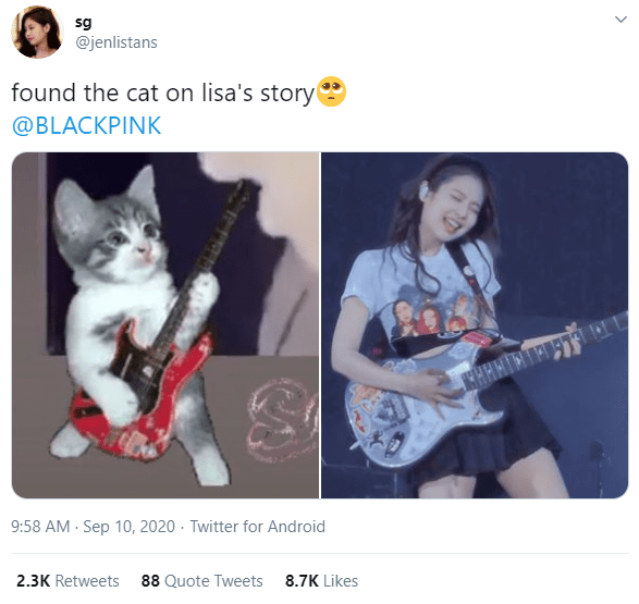 Cat - sg @jenlistans found the cat on lisa's story @BLACKPINK 9:58 AM - Sep 10, 2020 · Twitter for Android 2.3K Retweets 88 Quote Tweets 8.7K Likes