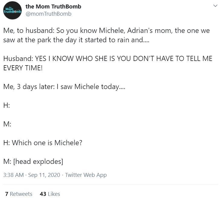 Text - the Mom TruthBomb Mom TruthBemb @momTruthBomb Me, to husband: So you know Michele, Adrian's mom, the one we saw at the park the day it started to rain and.. Husband: YES I KNOW WHO SHE IS YOU DON'T HAVE TO TELL ME EVERY TΙΜΕ! Me, 3 days later: I saw Michele today. H: M: H: Which one is Michele? M: [head explodes] 3:38 AM Sep 11, 2020 - Twitter Web App 7 Retweets 43 Likes