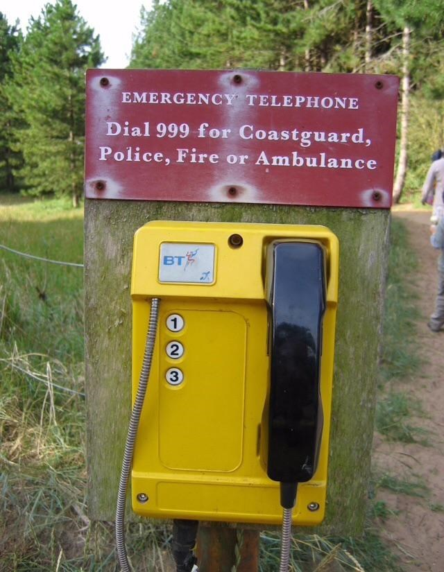 Mailbox - EMERGENCY TELEPHONE Dial 999 for Coastguard, Police, Fire or Ambulance BT 1