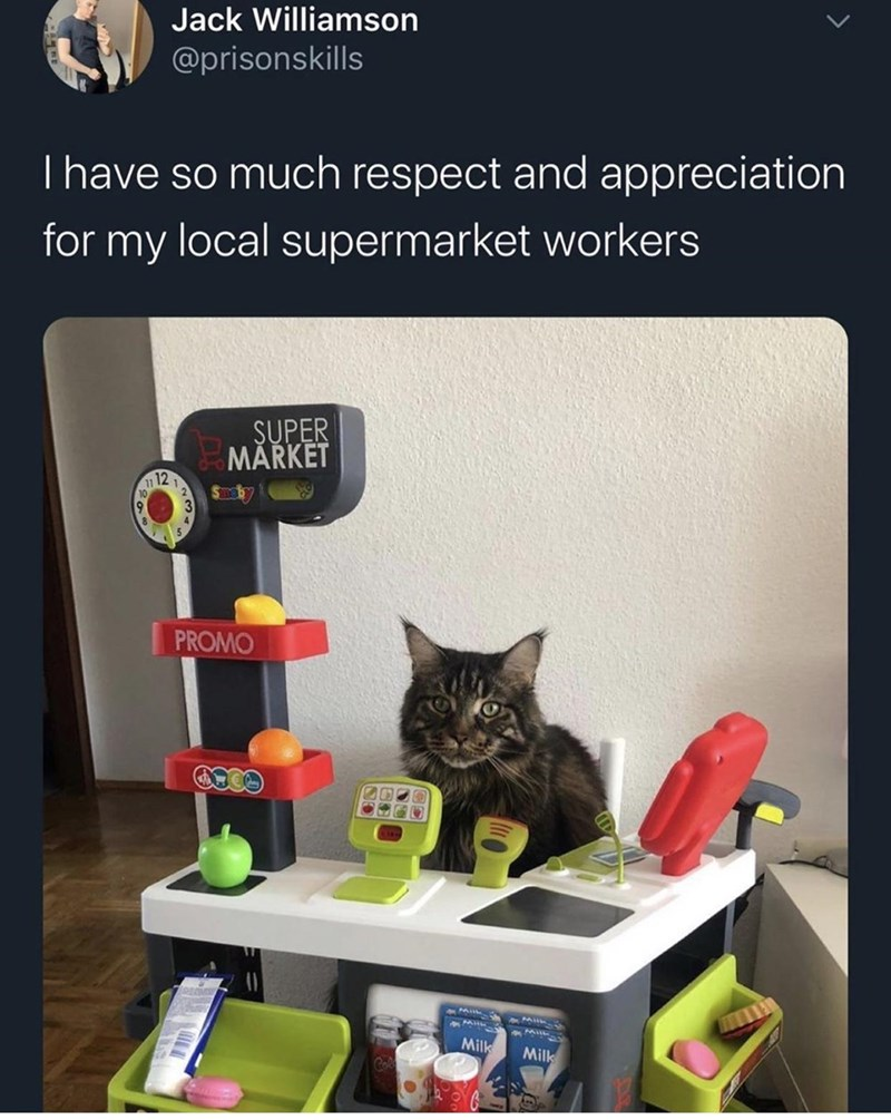 Cat - Jack Williamson @prisonskills Thave so much respect and appreciation for my local supermarket workers ŞUPER MĂRKET 12 11 PROMO Milk Milk