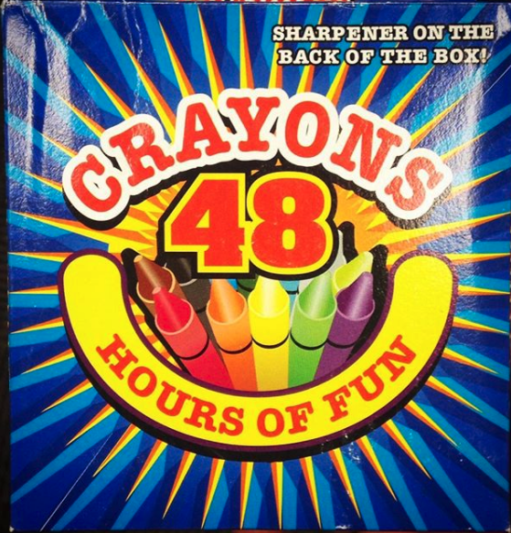 Font - SHARPENER ON THE ВАCK OF TНЕ ВОХУ CRAYONS 48 HOURS OF FUN