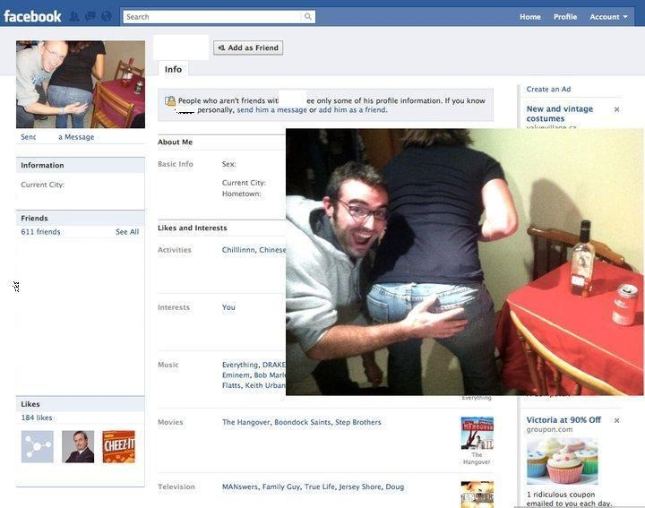Web page - facebook 9 Search Home Profile Account 41 Add as Friend Info Create an Ad People who aren't friends wit - personally, send him a message or add him as a friend. ee only some of his profile information. If you know New and vintage costumes Senc a Message About Me Information Basic Info Sex: Current City: Current City: Hometown: Friends Likes and Interests 611 friends See All Activities Chillinnn, Chinese Interests You Everything, DRAKE Eminem, Bob Marl Flatts, Keith Urban Music Likes 1