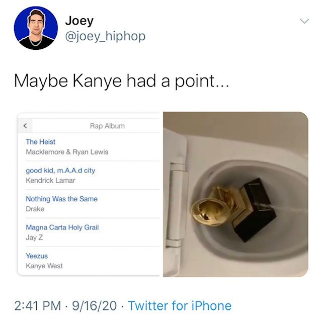 Lock - Joey @joey_hiphop Maybe Kanye had a point... Rap Album The Heist Macklemore & Ryan Lewis good kid, m.A.A.d city Kendrick Lamar Nothing Was the Same Drake Magna Carta Holy Grail Jay Z Yeezus Kanye West 2:41 PM 9/16/20 · Twitter for iPhone
