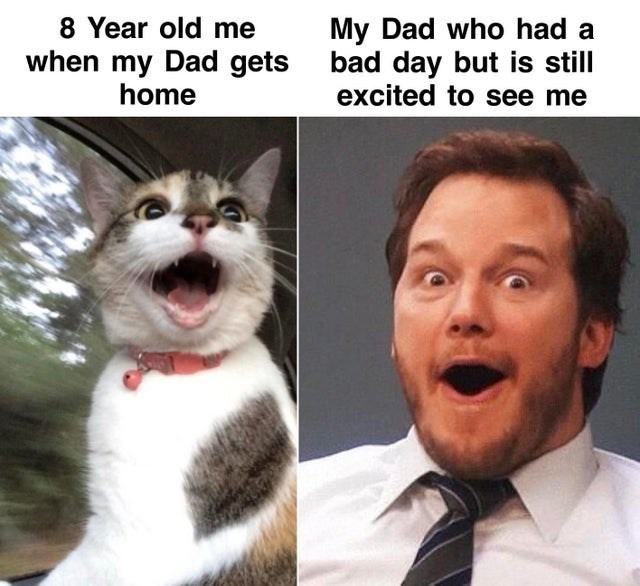 Face - 8 Year old me My Dad who had a when my Dad gets bad day but is still excited to see me home