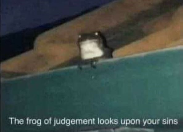 Green - The frog of judgement looks upon your sins