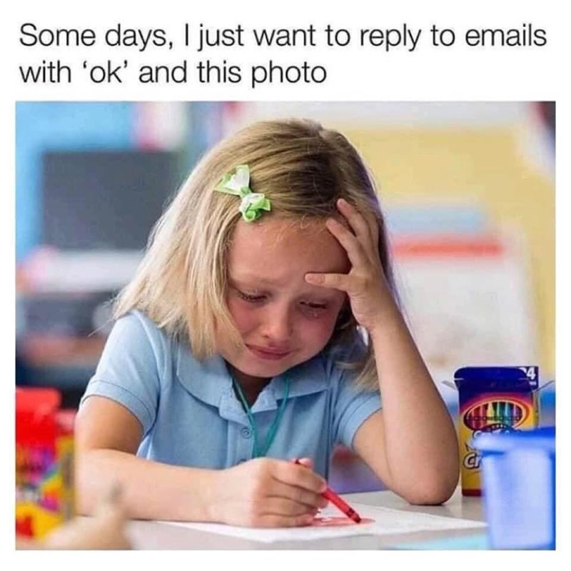 Child - Some days, I just want to reply to emails with 'ok' and this photo