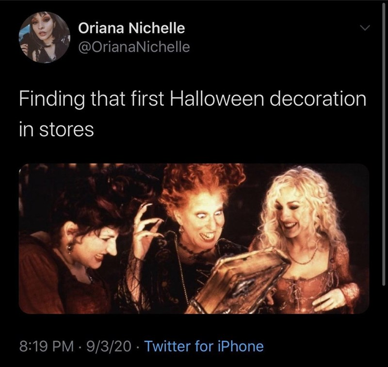 Text - Oriana Nichelle @OrianaNichelle Finding that first Halloween decoration in stores 8:19 PM · 9/3/20 · Twitter for iPhone