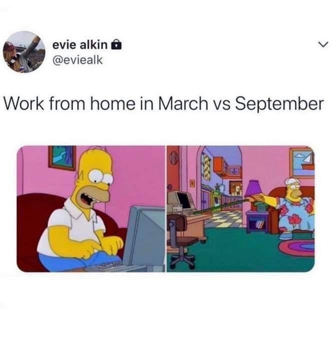 Cartoon - evie alkin @eviealk Work from home in March vs September