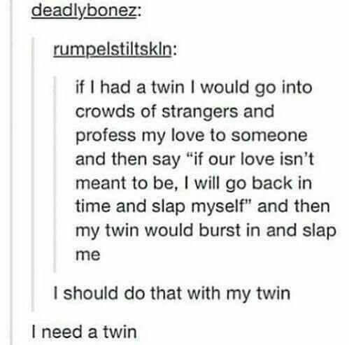 """Text - deadlybonez: rumpelstiltskln: if I had a twinI would go into crowds of strangers and profess my love to someone and then say """"if our love isn't meant to be, I will go back in time and slap myself"""" and then my twin would burst in and slap me I should do that with my twin I need a twin"""