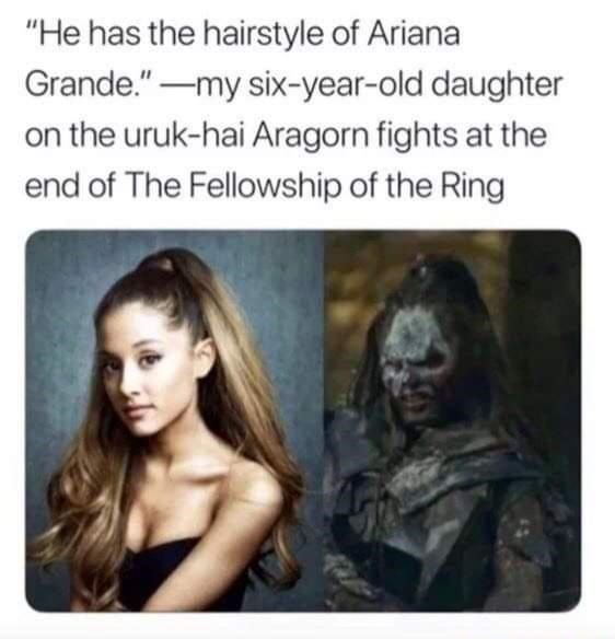 """Facial expression - """"He has the hairstyle of Ariana Grande.""""-my six-year-old daughter on the uruk-hai Aragorn fights at the end of The Fellowship of the Ring"""