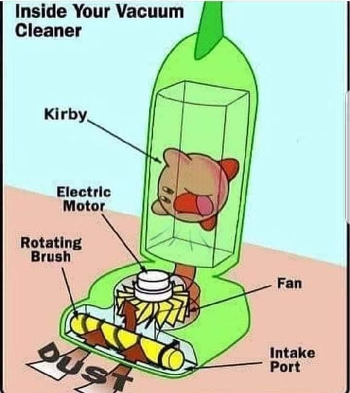 Cartoon - Inside Your Vacuum Cleaner Kirby Electric Motor Rotating Brush Fan Intake Port