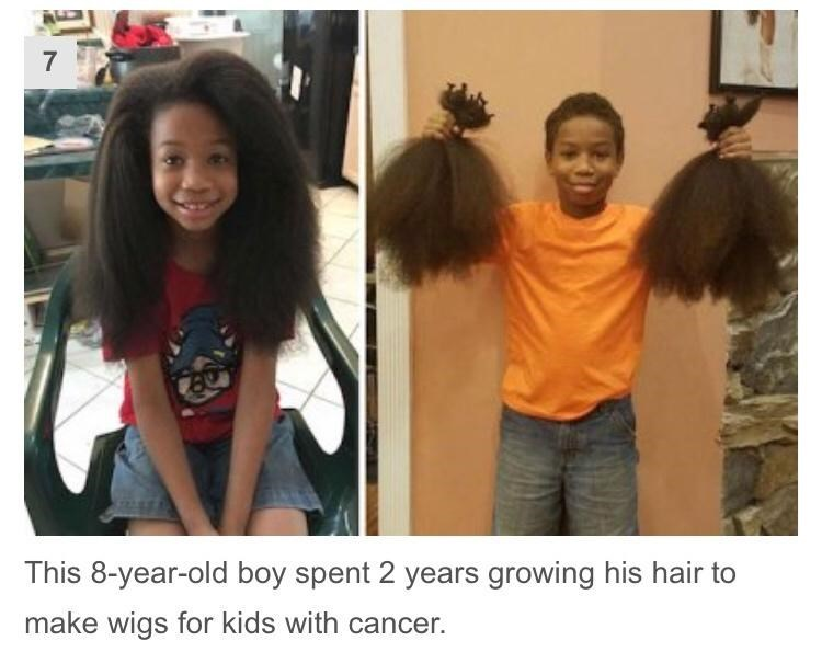 Hair - 7 This 8-year-old boy spent 2 years growing his hair to make wigs for kids with cancer.