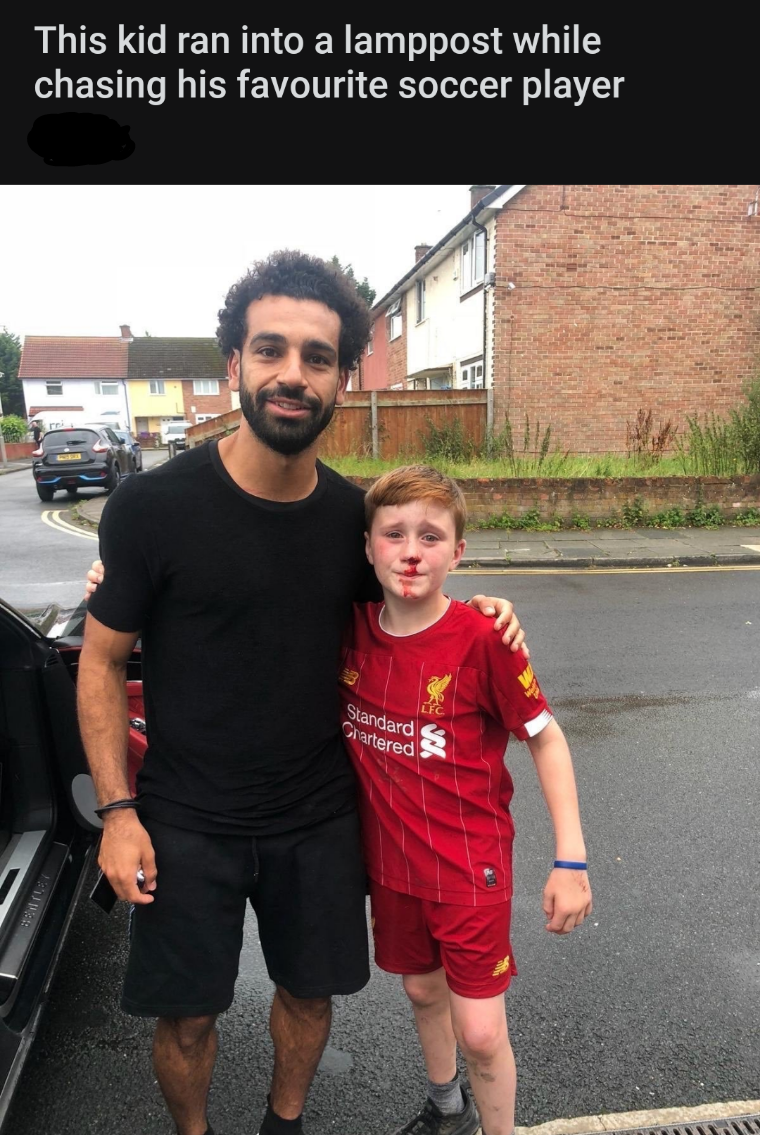 People - This kid ran into a lamppost while chasing his favourite soccer player rei LFC Standard Chartered