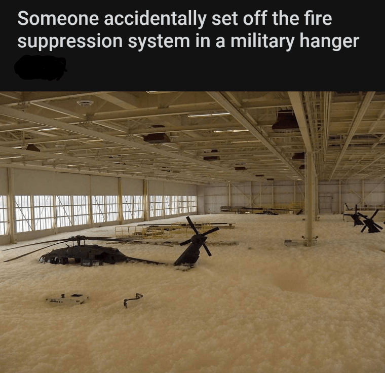 Adaptation - Someone accidentally set off the fire suppression system in a military hanger