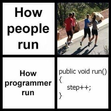 Text - How people run How public void run() programmer step++; run }