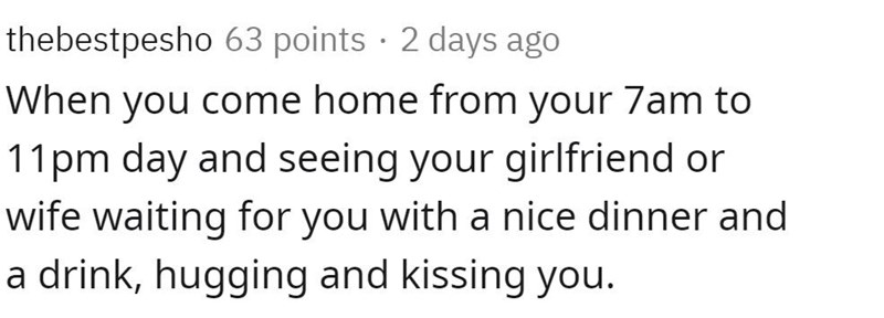 Text - thebestpesho 63 points · 2 days ago When you come home from your 7am to 11pm day and seeing your girlfriend or wife waiting for you with a nice dinner and a drink, hugging and kissing you.