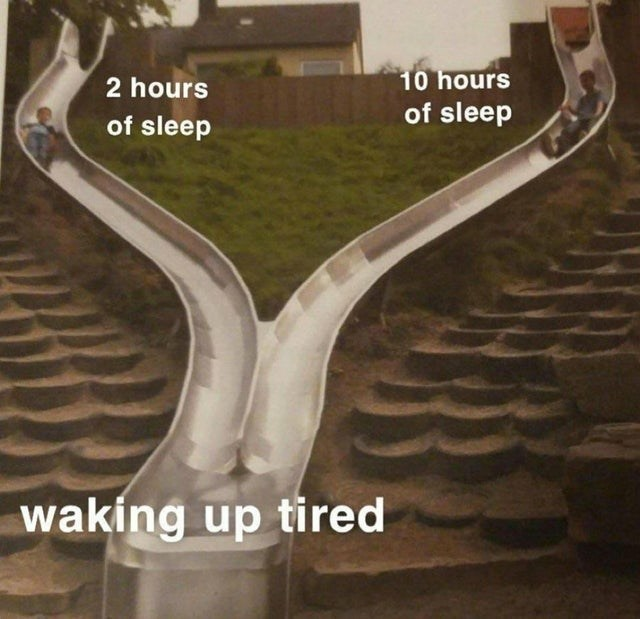 Road - 2 hours 10 hours of sleep of sleep waking up tired