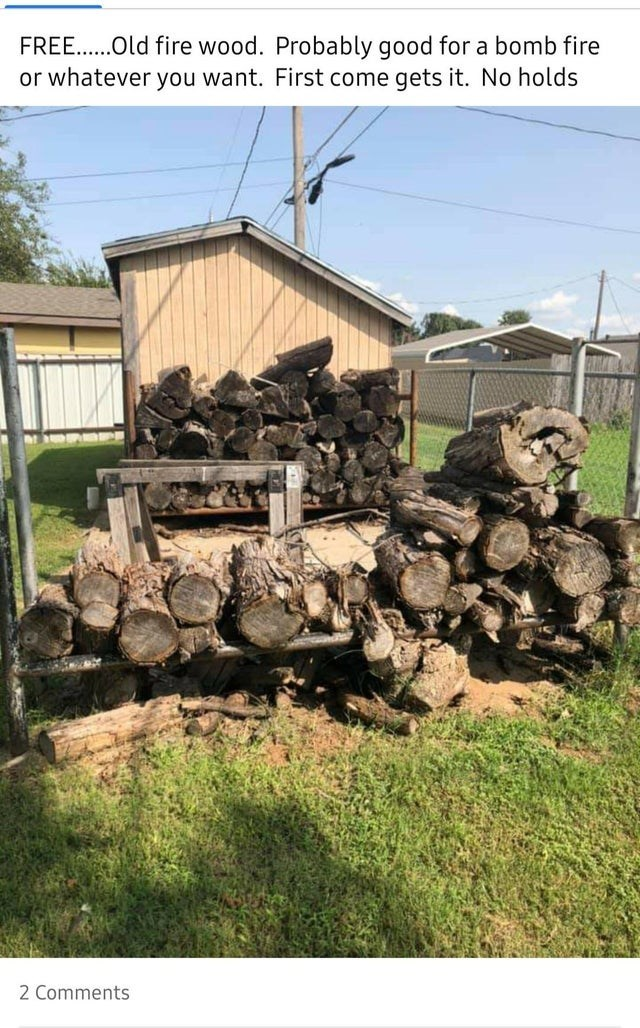Transport - FREE..Old fire wood. Probably good for a bomb fire or whatever you want. First come gets it. No holds 2 Comments