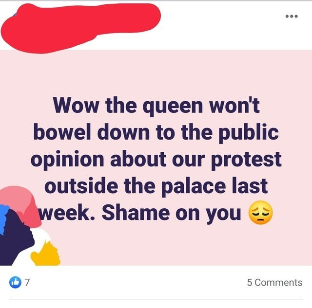 Text - Wow the queen won't bowel down to the public opinion about our protest outside the palace last week. Shame on you 7 כ) 5 Comments